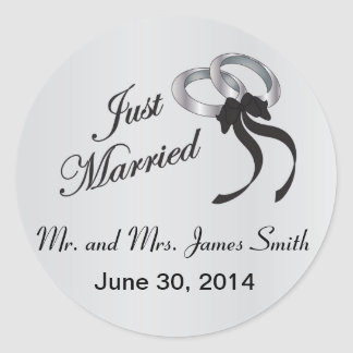 Just Married | Personalize Round Sticker