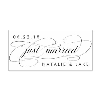 Just Married Personalized Wedding Self-inking Stamp