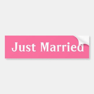 Just married pink  bumper sticker. car bumper sticker