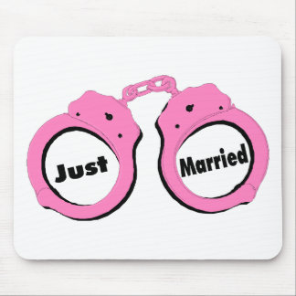 Just Married Pink Handcuffs Mouse Mat