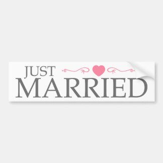 Just Married (Pink Heart Scroll) Bumper Sticker