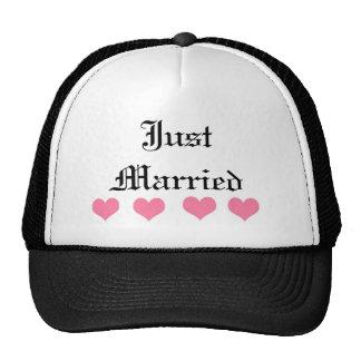Just Married Pink Heart Trucker Hat