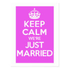Just Married Pink Postcard