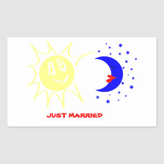 Just married rectangular sticker