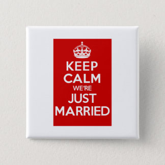 Just Married Red 15 Cm Square Badge