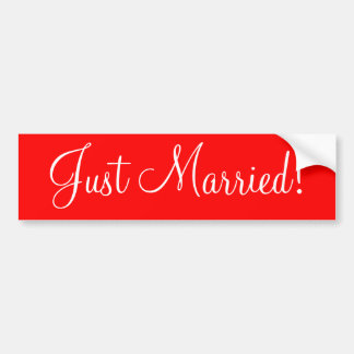 """""""Just Married!"""" Red and white bumper sticker"""