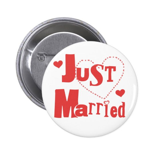 Just Married Red Heart 6 Cm Round Badge