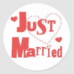 Just Married Red Heart Classic Round Sticker