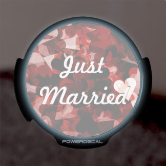 Just Married Red Heart Emotion w/ Black Pink Color LED Window Decal