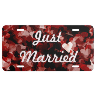 Just Married Red Heart Emotion w/ Black Pink Color