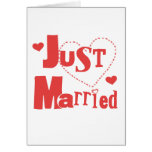 Just Married Red Heart Greeting Card