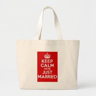 Just Married Red Large Tote Bag