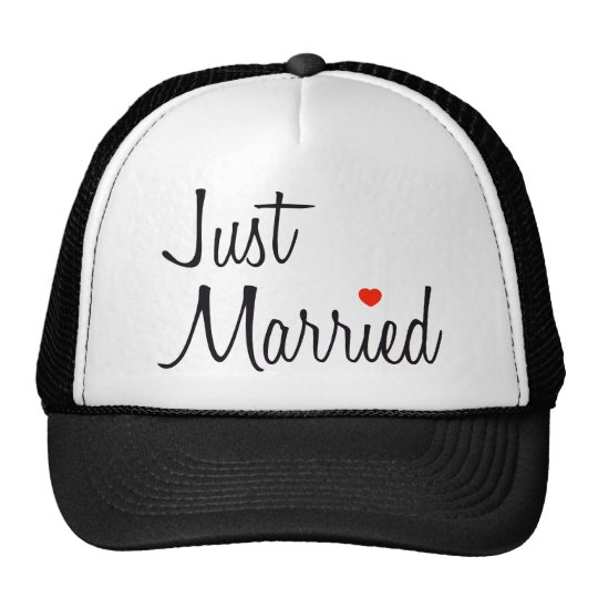 Just Married (Script With Red Heart) Cap
