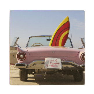 Just Married Sign And Surfboard Wood Coaster
