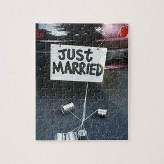 Just Married sign on back of car Jigsaw Puzzle