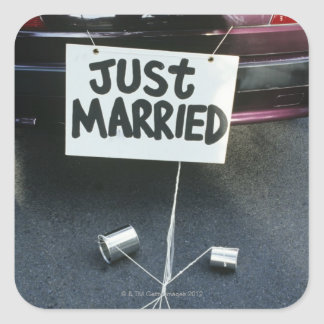 Just Married sign on back of car Square Sticker