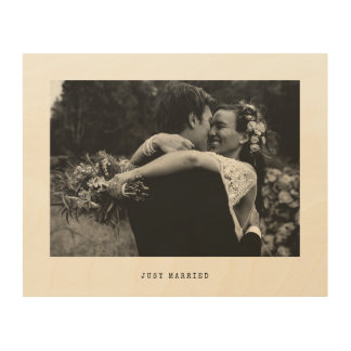 Just Married Simple Wedding Photo Wood Wall Decor