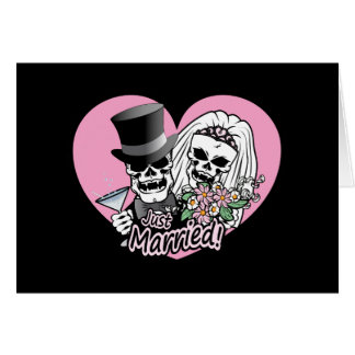 Just Married Skulls Greeting Card