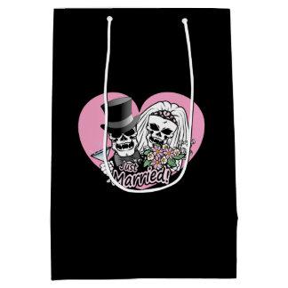 Just Married Skulls Medium Gift Bag