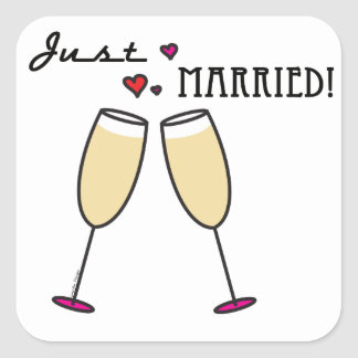 Just Married Square Stickers