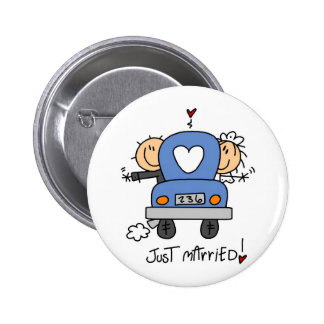 Just Married Stick Figure Wedding Button