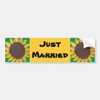 Just Married Sunflower Bumper Sticker