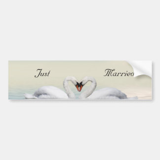 Just married swans bumper stickers