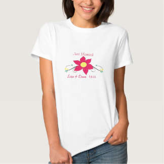Just Married T-Shirt- Pink Flower T Shirts