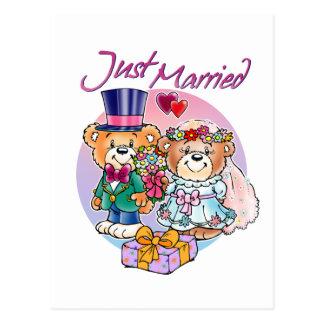 Just Married Teddy Bear Wedding Couple Postcard