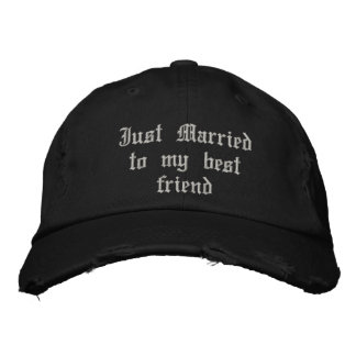 Just Married to my best friend gothic wedding hat Embroidered Baseball Caps