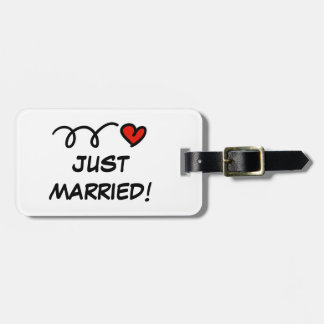 Just Married travel luggage tag for honeymooners
