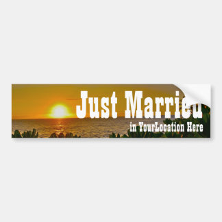 Just Married Tropical Beach Bumper Sticker
