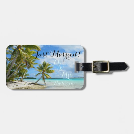 Just married tropical honeymoon travel luggage tag