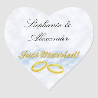 Just Married, Two Gold Bands/Clouds Heart Sticker