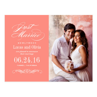 Just Married Wedding Announcements | Coral Pink Postcard