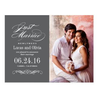Just Married Wedding Announcements | Dark Grey Post Card