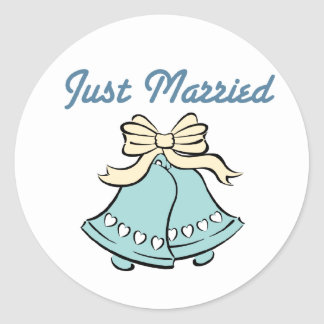JUST MARRIED WEDDING BELLS STICKER