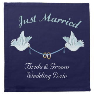 Just Married Wedding Doves Cloth Napkins