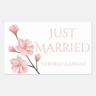 Just Married Wedding Pink Cherry Blossom Flower Rectangular Sticker