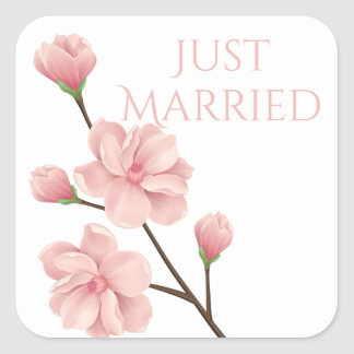 Just Married Wedding Pink Cherry Blossom Flower Square Sticker