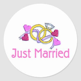 Just Married Wedding Rings Stickers