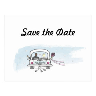 Just Married Wedding Save the Date Postcards