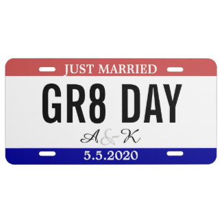 Just Married Wedding Souvenir Car Number