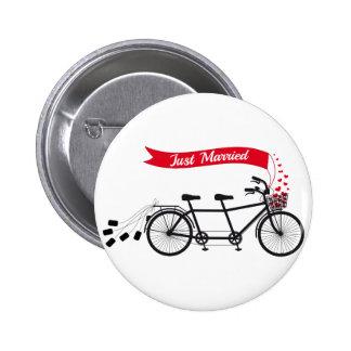 Just married, wedding tandem bicycle 6 cm round badge