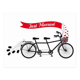 Just married, wedding tandem bicycle postcard