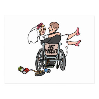 Just Married Wheelchair Postcards