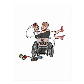 Just Married Wheelchair Post Card
