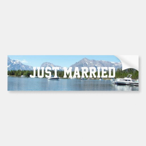 Just married wild nature Grand Teton Bumper Sticker