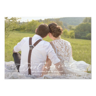 Just Merried Newlywed First Christmas Card 13 Cm X 18 Cm Invitation Card