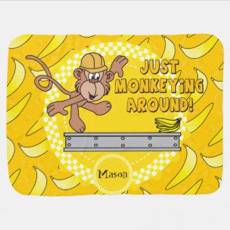 Just Monkey Around Baby Nursery Theme Receiving Blanket